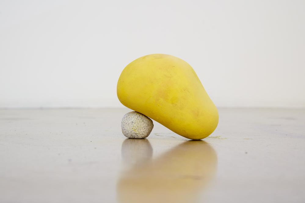 Taeyoon Kim, Half sit, Clay, resin, oil stick, 12cm x 12cm, 2016