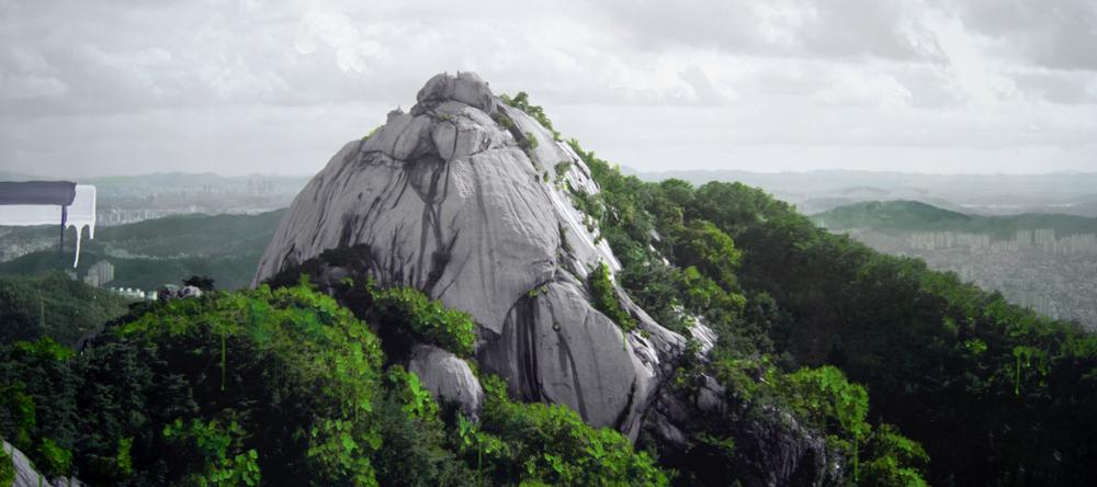 Honggoo Kang, Study of green - eagle peak, Acrylic on pigment print, 106x213cm, 2012