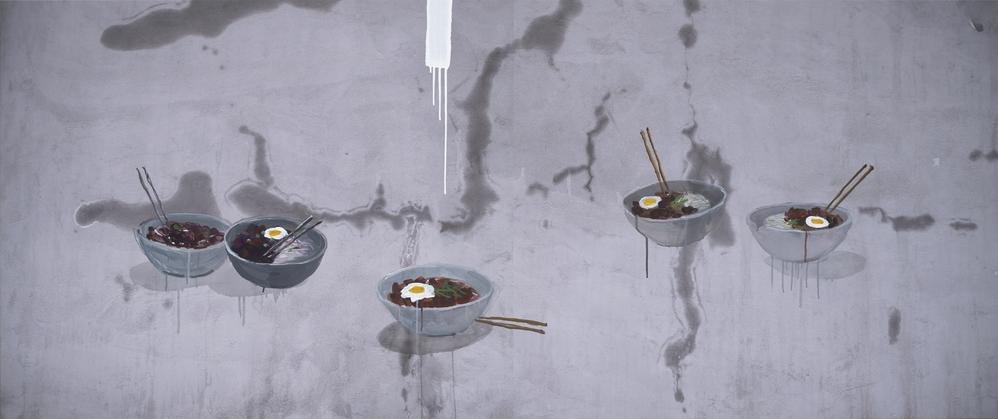 강홍구, 자장면, 사진에 아크릴, 100x240cm, 2015, ONE AND J