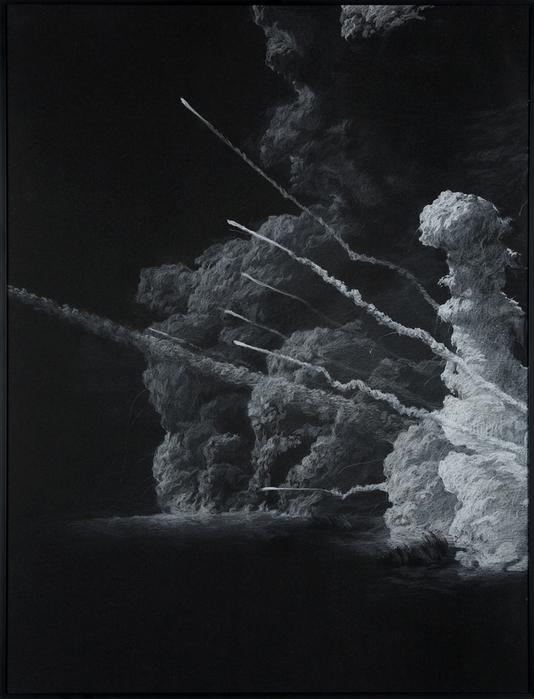 권경환, Untitled026, 검은 종이에 아크릴과 색연필, 71x54cm, 2007