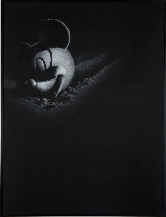 권경환, Untitled029, 검은 종이에 아크릴과 색연필, 71x54cm, 2007