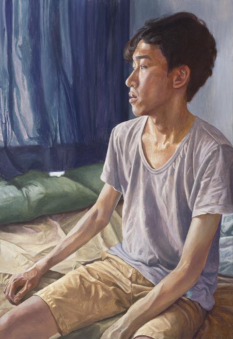 서동욱, 아침 - 남색커튼이 있는 침실, 캔버스에 유화, 116.8x80.3cm, 2016