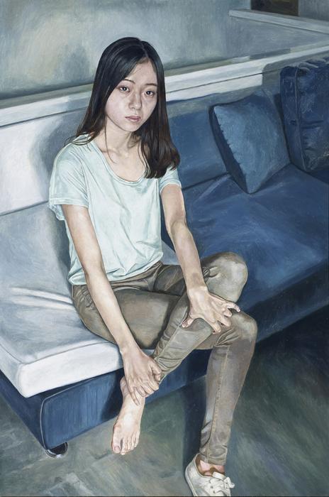 서동욱, 아침 거실-J.E., 캔버스에 유화, 145.5x97cm, 2015