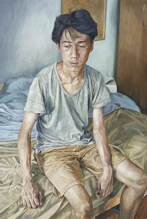 서동욱, 아침 침실-M.J., 캔버스에 유화, 145.5x97cm, 2015