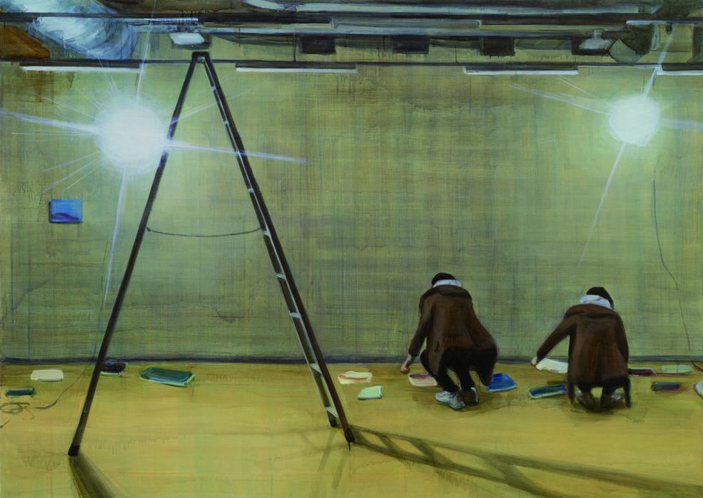 박진아, 지하실에서 준비, 캔버스에 유화, 162x227cm, 2012
