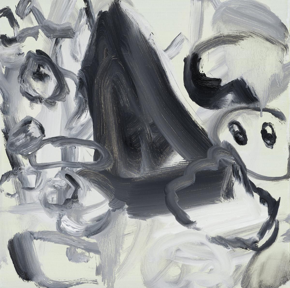 이정민, 산책-형태, 캔버스에 인디언 잉크, 아크릴, 유화, 40x40cm, 2015